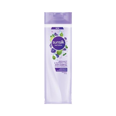 Sunsilk Natural Bergamot & Butterfly Pea Anti-Hair Fall Shampoo 320 ml ฉลากหน้าผลิตภัณฑ์
